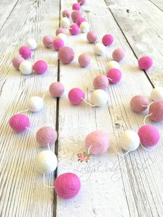 Felt Ball Garland - Wedding Pom Pom Garland - Pink Girl Room Garland - Pastel Nursery Garland  Party Garland - Photo Shoot  7 Ft. by LollysCubbyHole on Etsy