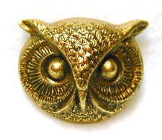 Hand Crafted Brass Owl Face Button - Realistic