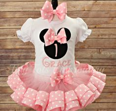 Check out this item in my Etsy shop https://www.etsy.com/listing/454679824/minnie-mouse-birthday-outfit-includes