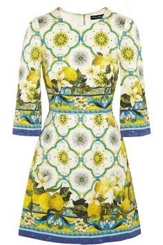 Fitted at the waist, slightly loose at the hip Mid-weight, non-stretchy fabric (Jacquard) Printed with zingy lemons and patterned tiles, Dolce & jacquard mini dress -Sicilian style. The fitted waist and flared skirt will accentuate a feminine silhouette, while the sleeves balance out the short hem. This Italian-made piece is lined through the body in stretch-silk satin Concealed zip fastening along back 64% rayon, 36% cotton; bodice lining: 96% silk, 4%elastan