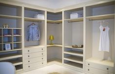 Corner closet diy walk in 37 Ideas Closet Walk-in, Closet Space, Closet Ideas, White Closet, Wardrobe Ideas, Corner Closet Organizer, Closet Organization, Closet Storage, Organization Ideas