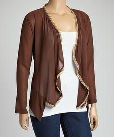 Love this Brown Open Cardigan - Plus on #zulily! #zulilyfinds