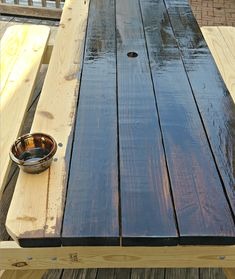 Farmhouse Picnic Table - The Painted Home by Denise Sabia picnic tables Farmhouse Picnic Table Painted Picnic Tables, Outdoor Picnic Tables, Backyard Picnic, Patio Table, Diy Table, Dining Room Table, Outdoor Decor, Backyard Ideas, Diy Picnic Table