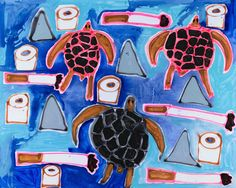 """Katherine Bernhardt, """"Sea Turtles, Cigarettes, Toilet Paper, and Dorsal Fins"""" 2015, courtesy of Venus Over Manhattan. From Artsy's """"50 Must-See Fall Gallery Shows"""""""