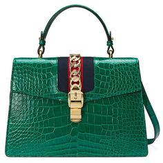 Gucci Sylvie Crocodile Top Handle Bag (€26.510) ❤ liked on Polyvore featuring bags, handbags, emerald green, gucci handbags, gucci purse, gucci and gucci bags