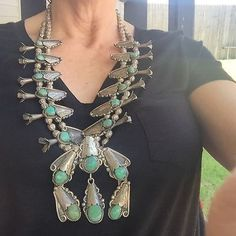 Huge-Ornate-SS-Zuni-Turquoise-Squash-Blossom-Necklace-281-grams