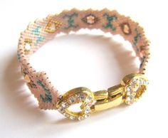 bracelet tissage peyote roe et bleu - gourmette - ysabi crea - Fait Maison