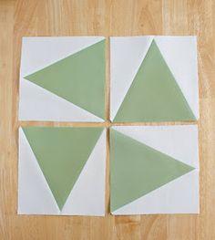 Triangle in a square quilt block using Tri-Recs rulers