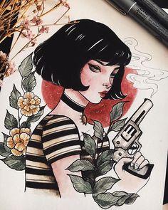 Matilda by Pei Hsin Cool Art Drawings, Art Sketches, Character Art, Character Design, Arte Sketchbook, Cute Art Styles, Art Graphique, Aesthetic Art, Artist Art