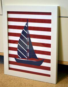 Nautical theme 8 x 10 print- Sailboat print- boat or scooter print- Boy nursery- Teen boy room. $9.00, via Etsy.