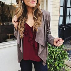 brighton the day styling suede jacket, burgundy top, jeans