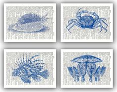 Set of 4 prints,  marine nautical  Prints, abalone, crab, sea lion, jellyfish print, Upcycled Book Print  Upcycled Dictionary page Art Print. $28.50, via Etsy.