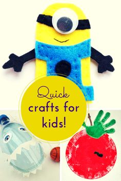 Quick craft ideas for kids (minions, DIY cup and ball game & paper plate hand print apple craft) #Pintorials
