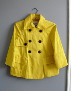 90s Bright Yellow Cotton Peacoat Short Raincoat Trench by LonePony, $89.99