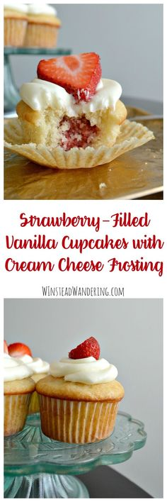What do you get by combining strawberry filling, vanilla cupcakes, and cream cheese frosting Strawberry-Filled Vanilla Cupcakes with Cream Cheese Frosting.