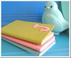felt monogram notebooks...DIY with felt and a composition notebook! Super cute idea and cheap!