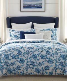 Tommy Hilfiger Camden Reversible Floral Full/Queen Comforter Set - White/Blue