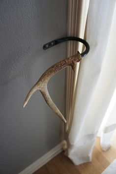Curtain Tieback Deer Antler Tie Back Holdback Cabin Decor Primitive Natural Rustic Woodland. $55.00, via Etsy. Gunner39;s room