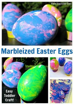 Easy Easter craft for kids. Make this marbleized Easter egg craft with both toddlers and preschoolers! Simple and fun art project for Easter! Make colorful table decorations too! Easter Art, Easter Crafts For Kids, Toddler Crafts, Easter Eggs, Easter Ideas, Easter Recipes, Kid Crafts, Daycare Crafts, Egg Recipes