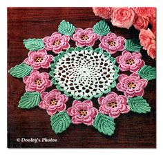 Get your Spring Decor ready by making this Vintage Crochet Pattern Rose and Leaf Doily from DooleysPhotos