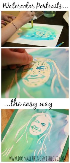 What a fun activity for summer. full tutorial for making watercolor portraits, the easy way! #watercolor #portraits