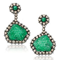 Floral Craved Emerald Earrings Emerald, diamond & ruby set in silver & gold. By Amrapali Jewels Jaipur. Panna Collection.