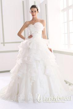 ウェディングドレス プリンセス オーガンジフリル ビスチェ コサージュ JWLT15015