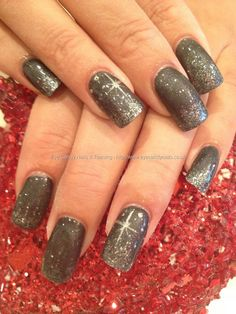 Charcoal grey polish with grey glitter and simple Xmas nail art Taken at:07/12/2012 14:51:12 Uploaded at:07/12/2012 19:24:59 Technician:Elaine Moore
