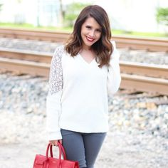 cooper & ella Lace Inset V-Neck Sweater #cooperandella #ootd #style #fashion