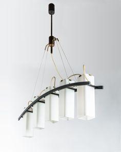 Angelo Lelli; #12701 Enameled Metal, Brass and Glass Ceiling Light for Arredoluce, c1950.