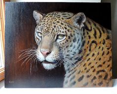 Jaguar portrait. Oils. Big cat painting.