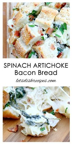 Spinach Artichoke Bacon Pull-Apart Bread Recipe | This cheesy stuffed bread is perfect for game day! #VoteWrightBrandBacon [ad] /wrightbacon/