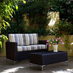 angelo:HOME Napa Springs Newport Stripe 2 piece Indoor/Outdoor Wicker Arm Loveseat and Table $409