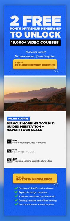 Miracle Morning Toolkit: Guided Meditation + Hawaii Yoga Class Health & Wellness, Lifestyle, Fitness, Exercise, Productivity, Yoga, Growth Hacking, Meditation, Life Coaching #onlinecourses #onlinecollegemusthaves #onlinelessonsdigitalcitizenship   Rise and shine with these short but sweet classes that are going to set you up for a magic day. Featuringa five minute guided meditation and a flowing...