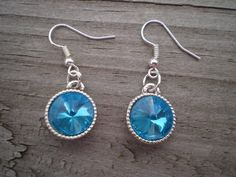 Faceted Turquoise Crystal French Hook Earrings by tlw1212 on Etsy