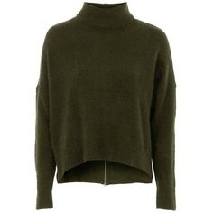 TopshopBack Zip Turtleneck Sweater (310 HKD) ❤ liked on Polyvore featuring tops, sweaters, green turtleneck, turtle neck sweater, turtleneck tops, polo neck sweater and green sweater