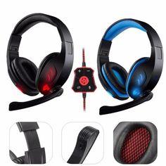 Gaming Headset 7.1Ch Stereo plegable Headbrand auriculares USB LED con micrófono