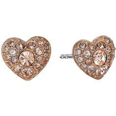 Fossil Glitz Heart Stud Earrings ($21) ❤ liked on Polyvore featuring jewelry, earrings, peach earrings, heart shaped stud earrings, fossil jewelry, fossil earrings and stud earrings