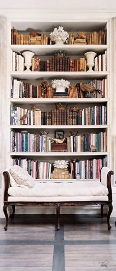 Bookshelves & stylist bench vignette