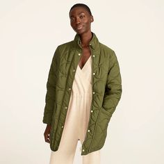 J.Crew: Quilted Cocoon Puffer With PrimaLoft® For Women High Collar, Coats For Women, Clothes For Women, J Crew, Organic Cotton, Military Jacket, Looking For Women, Wool Blend, My Style