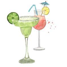 Watercolour cocktails illustration - Mojito & Campari cocktail by Giorgia Bressan