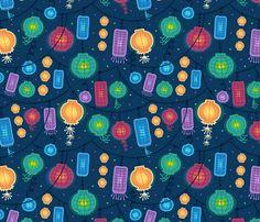 Lovely colorful glowing patterns against a night sky. Pattern design by Oksancia www.oksancia.com