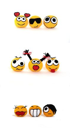 """Crochet amigurumi smiley faces  full set  crochet balls by zolayka, $ 66.00"" #Amigurumi  #children toy| http://kid-toy.lemoncoin.org"