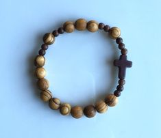 Olive Wood Rosary Bracelet by TheSofShop on Etsy