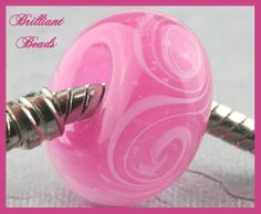 Pink & White Swirled Glass Bead for European Style by Gillianbeads, $3.50