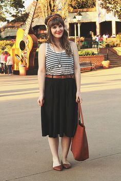 Outfit details: Breathtaking Tiger Lilies Skirt in Black c/o ModCloth H&M Striped Tank (similar) Dots to Love Headband in Cinnamon c/o ModCl...