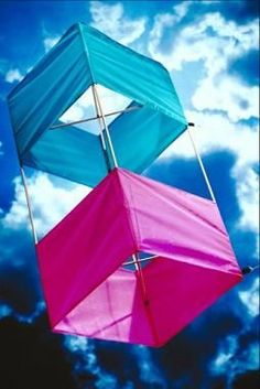 Although the shape may seem unconventional, box kites are easy to make with a few inexpensive materials. Kite Building, Box Kite, Diy And Crafts, Crafts For Kids, Kite Making, Go Fly A Kite, Cute Box, How To Make Box, Button Crafts