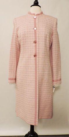 NWT Isabel & Nina Pink White Women's Dress Long Jacket Coat Front Button Size 10 #IsabelNina #DressCoat