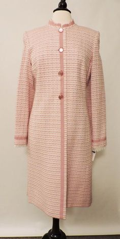 NWT Isabel & Nina Pink White Women's Dress Long Jacket Coat Front Button Size 10 #IsabelNina #DressCoat