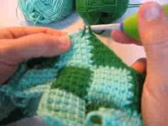 This is the edging row of triangles for my Entrelac crochet blanket - YouTube